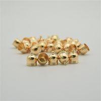 boncuk kapak bağlantısı toptan satış-50 adet Altın Püsküller Cap Bulguları Boncuk Sonu Deri Kordon Kolye Tel Rore Faux Süet Klipsler Çan Şekil Bağlayıcı Caps