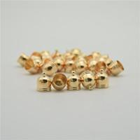 bead end caps achat en gros de-50 pcs Or Glands Cap Résultats Perles Caps En Cuir Cordon Collier Fil Rore Faux Daim Fermoirs Bell Forme Connecteur