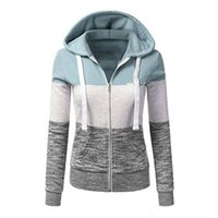 frauen promotion taschen großhandel-Förderung-Frauen Hoodies Sweatshirts Long Sleeve Hoody-Damen-Reißverschluss-Taschen-Patchwork-Frauen-Sweatshirt-weibliche Baseball-Jacke Hoodies CL670