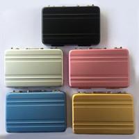 mini carte valise achat en gros de-Mini valise Business Card Files Case Multi couleur haut grade en alliage d'aluminium titulaire de la carte bureau fournitures 13ys C R