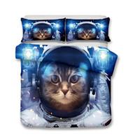 gato adulto set venda por atacado-Jogo de cama do gato do espaço 3pcs capas de edredon fronha king size todo o tamanho