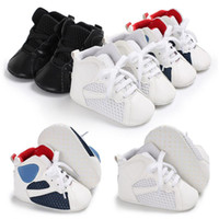 Wholesale mesh crib - ROMIRUS Baby Boys Shoes Fashion High Top Sneakers Mesh Pu Leather First Walker Newborn Infant Crib Soft Sole Prewalkers Shoe