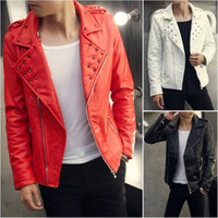 Wholesale Leather Hooded Biker Jacket Men - Wholesale- 2017 New Fashion Studded Male Biker Jacket Red White Black Motorcycle Leather Jacket For Men High Quality PU