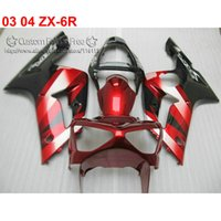 Wholesale aftermarket kawasaki ninja fairings resale online - Motorcycle parts for kawasaki fairing ZX6R Ninja fairings kit ZX R red black aftermarket ZB12