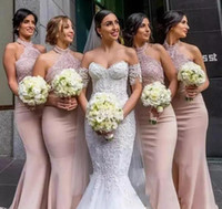 Wholesale Halter Lace Prom Dress Blush - 2018 New Blush Pink Bridesmaid Dresses with Halter Neckline Sleeveless Floor Length Appliques Beadeds Trumpet Party Prom Gown Mermaid