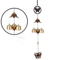 bronz kelebekler toptan satış-Klasik Bronz Küçük Çan ile Kelebek Rüzgar Çanları Yard Bahçe Açık Oturma Odası için Asılı Dekorasyon Yenilik Öğeleri 6 5bz X