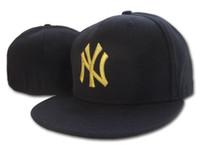 sombreros cabidos hombres al por mayor-2018 summer style NY letter Gorras de béisbol Chapeu hueso hombres y mujeres deportes hiphop cerrado completo Sombreros equipados