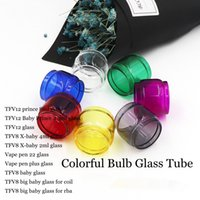 Wholesale big fats - Colorful Fat Boy Extended Replacement Bulb Glass Tube 7 Colors for TFV12 Prince Baby TFV8 X-baby Vape pen 22 Plus Big for RBA Tank