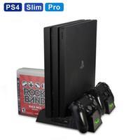 controlador ps4 más frío al por mayor-PS4 / PS4 Slim / PS4 Pro Soporte vertical con ventilador de refrigeración Coole Dual Controller Cargador Estación de carga para Sony Dualshock 4