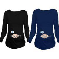 Wholesale funny cartoon shirts - 2017 Cartoon Funny Maternity Shirts Pregnancy Long Sleeve Tee Shirt Pregnant Women Autumn Winter Basic T-shirt Tops Z139