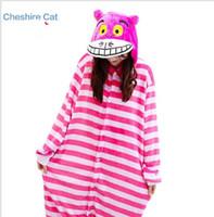 trajes de animales al por mayor-Mujeres Cheshire Cat Onesies Sleeuit Adultos Dibujos Animados Pijamas Cosplay Disfraces Animal Onesie ropa de Dormir Cálido Traje de Baño KKA4169