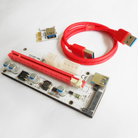 Wholesale Pci Express Power Adapter - 60cm PCI-E Express 1X To 16X Extender Riser Card Adapter USB 3.0 LED SATA 6 Pin Power Cable DC-DC For Mining XXM8 OTH810