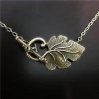 collier feuille bronze achat en gros de-12pcs / lot Olive Leaf Necklace en bronze steampunk bijoux de Noël