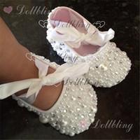 ruban de perles blanches achat en gros de-Baptême perles strass cristal clair bébé chaussures coutume pour acheteur ruban blanc match magie souvenir enfance