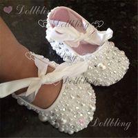 Wholesale shoes custom resale online - Christening pearls Rhinestones clear crystal baby shoes custom for buyer white ribbon match magic childhood keepsake
