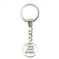 Wholesale dream locks resale online - 6 Pieces Key Chain Women Key Rings Fashion Keychains For Men Live Your Dream mm