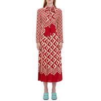 uzun kırmızı şifon tasarımcısı elbise toptan satış-Ecombird 2017 Bahar Pist Tasarımcı Kadınlar Elbiseler Casual Uzun Kollu Yay Kırmızı Polka Dot Baskılı Pilili Elbise şifon Vestido
