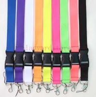 cordões roxos venda por atacado-Atacado Pure Color Lanyards Neck Strap Telefone Para ID Card Passe Crachá Ginásio Chave Preto Vermelho Azul Roxo Laranja Do Telefone Móvel Chaveiro