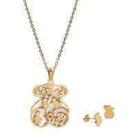 Wholesale Gold Jewelry For Children - TL Cute Children Stainless Steel Bear Jewelry Set For Women Never Fade Hot Selling High Quality