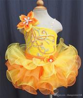 ingrosso vestiti arancioni da ragazza di fiori del bambino-2019 Giallo arancione Flower Girl Cupcake in rilievo Ragazze Abiti Pageant infantili vestiti da bambino telai fiori fatti a mano