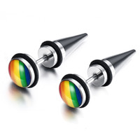 wholesale spikes studs jewelry NZ - Rainbow Earring Gay Pride Spike Stud Earrings for Men Women 316L Stainless Steel Fashion Jewelry Brinco Aretes Punk Rock Gift