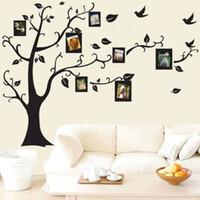 виниловые наклейки оптовых-DIY 3D виниловые наклейки на стены съемный дерево фоторамка стены искусства наклейки для дома гостиная декор плакат популярные 3 4fx BB