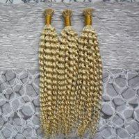 hint remy sarışın toptan satış-Ben İpucu Fusion Saç Uzantıları renk # 613 Bleach sarışın Kinky Kıvırcık saç 300g 1 g / strand Sopa Hint Remy İnsan Saç Uzatma