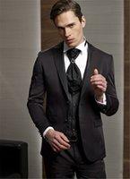 gilets gilets veste marron foncé achat en gros de-Custom Made Groom Tuxedo Groomsmen Mariage Marron FoncéDînerSuits De Soirée Meilleur Homme Marié (Veste + Pantalon + Cravate + Gilet)