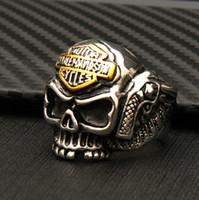 mulheres do anel de esqueleto venda por atacado-Alta qualidade completa de aço de titânio dos homens do esqueleto do punk anéis personalidade popular motocicleta anéis de rock das mulheres dos homens harley skull ring