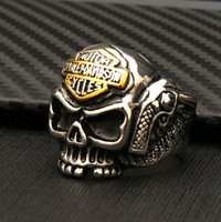 18k gold schädel ringe großhandel-Hohe qualität full titanium stahl herren punk skeleton ringe beliebte persönlichkeit motorrad rock ringe männer frauen harley schädel ring