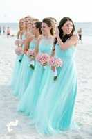 Wholesale turquoise bridesmaids dresses resale online - Fashion Light Turquoise Bridesmaids Dresses Plus size Beach Tulle Cheap Wedding Guest Party Dress Long Pleated Evening Gowns