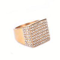 Wholesale square punk rings - Men's Stainless steel Gold Ring Fashion Hip hop Jewelry Iced Out Bling Rhinestone Crystal Square Punk Rings