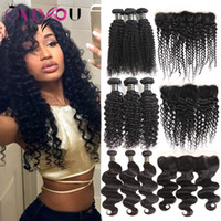 Wholesale black curly weave hair extensions online - Unprocessed Brazilian Virgin Human Hair Weave Bundles with Lace Frontal Deep Body Wave Kinky Curly Hair Extensions Frontal Weaves Closure