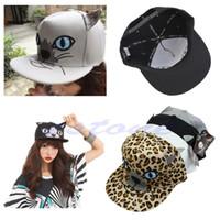 karikatür şapkalı şapkalar toptan satış-Yeni Moda Kedi Kulak Hip-Hop Şapka Kızların Tuval Karikatür Baskı Düz kenarlı Şapka Kap