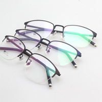 очки с половинной рамкой по рецепту оптовых-Rui Hao Eyewear Unisex Optical Eyeglasses Frame Half Rimless Retro Eyewear Frames Prescription Glasses  Spectacles 5322