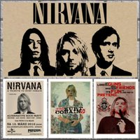 dekoratif vintage etiketler toptan satış-Vintage Posteri Nirvana Kurt Cobain yurdu Kraft Rock Orkestra dekoratif boyama Posteri retro duvar sticker