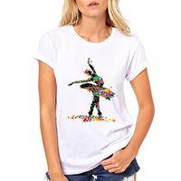 Wholesale painting women dancing resale online - Women s Tee Dance With Paint Splash T Shirt For Women Short Sleeve Dance T Shirt Pose T Shirt Harakuju Design Tops Tees