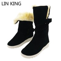 Wholesale lolita boots - LIN KING Fashion Women Winter Boots Warm Plush Wedges Shoes Bowtie Lolita Creepeers Ankle Boots Suede Leather Martin