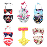 Wholesale swimwear tankinis - Girls Bikini 13 Designs Floral Printing 2 Pieces Tankinis Swimwear Baby Girls Swimsuit Two-pieces Swim Clothes 2-6T