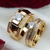 Wholesale Hot FashionStainless Steel Wedding Ring For Couples Gold Color Crystal Cz Lovers Rings Set Men Women Engagement Wedding Rings