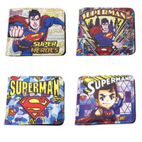 Wholesale Leather Superman Wallet - Anime DC Superman Short Wallet High Quality Leather New Purse Card Holder Gift Money Bag for Boy and Girl