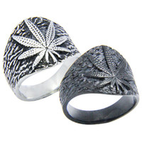 Wholesale bikers style silver rings for sale - Group buy 5pcs New Black Silver Leaf Men Boys Ring L Stainless Steel Fashion Jewelry Popular Biker Hiphot Style Leaf Ring