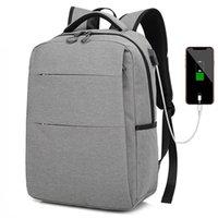 portas usb para tablet venda por atacado-Leve e Elegante Mochila de Viagem para Tablet Laptop Slim Clássico Casual Estudante Mochila Saco de Negócios Simples com Porta USB de Carregamento