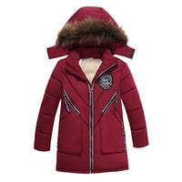 с капюшоном зимние мальчики шерсть оптовых-Мальчик теплый меховой воротник с капюшоном и пиджаки 3-5 лет дети 2018 зимнее пальто курткаНовый год мальчик длинное пальто детская одежда детская одежда