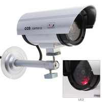 Wholesale fake dummy cameras - Silver Waterproof False Emulational Outdoor Fake Dummy Security Camera Decoy with IR Wireless Blinking Red LED CCT_70D