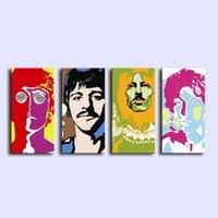 beatles dekor toptan satış-Beatles Animado, 4 Parça Tuval Baskılar Duvar Sanatı Yağlıboya Ev Dekor (Çerçevesiz / Çerçeveli)
