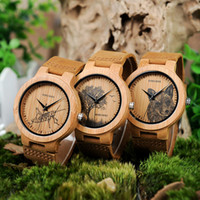 relojes baratos al por mayor-BOBO BIRD P20 Relojes de madera de bambú con impresión de imagen 2018 New Arrivals Images Reloj informal opcional