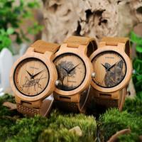 bilder uhren großhandel-BOBO VOGEL P20 Bambus Holz Uhren Männer mit Bilddruck 2018 Neuheiten Bilder Optional Casual Uhr