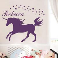 calcomanías de nombre personalizado para las paredes al por mayor-Una medida que la decoración del dormitorio sala de bricolaje Unicornio Tatuajes de pared conocido personalizado de etiqueta de la pared Decal