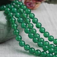 grüne achat runde perle großhandel-8/10/12 mm Natürliche grüne Achat Perlen Edelstein Runde Lose Perlen Für Armband DIY Schmuck Machen mehr größe für wahl